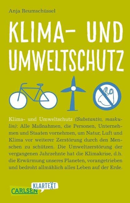 Carlsen Klartext: Klima- und Umweltschutz - Anja Reumschüssel