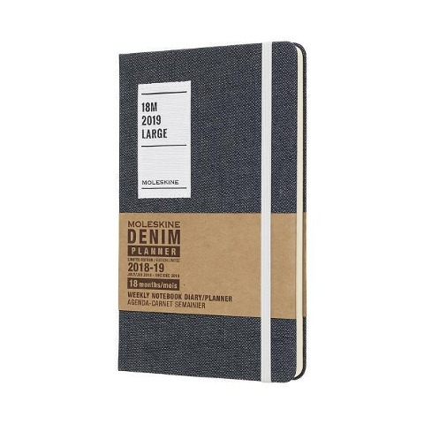 Moleskine Wochen Notizkalender, Denim, 18 Monate, 2018/2019, Large/A5, Hard Cover, Schwarz -
