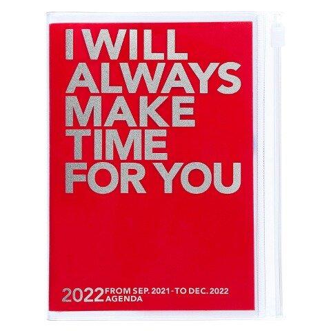 MARK'S 2021/2022 Taschenkalender A6 vertikal, MAKE TIME // Red -